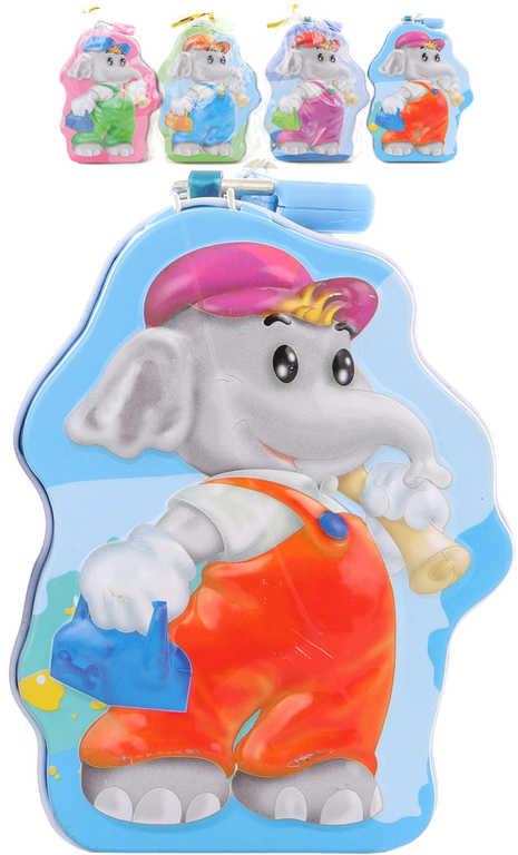 Pokladnička sloneček 11cm dětská plechová kasička na zámek 4 barvy