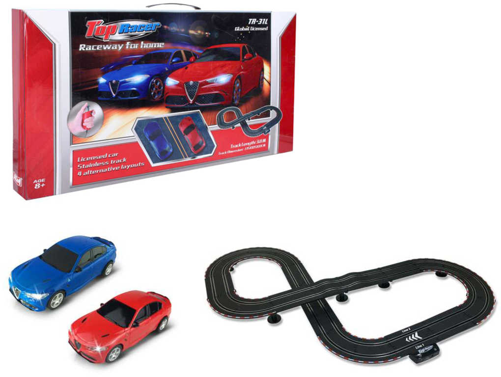 Top Racer autodráha zloděj a policajt 3,8m Alfa Romeo v krabici