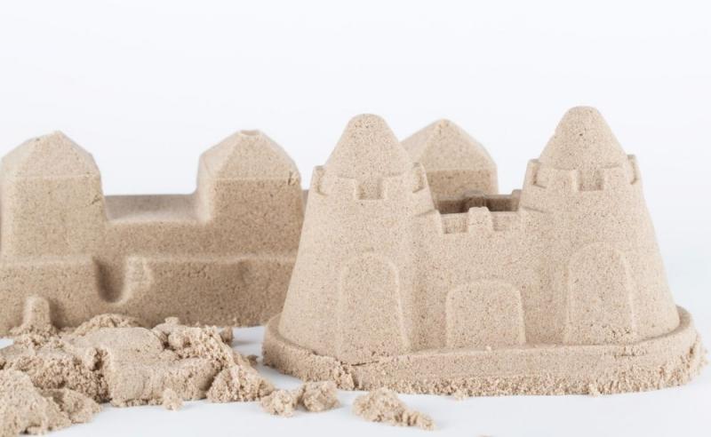 NaturSand Kinetický písek - přírodní - 3kg + formičky + pískoviště