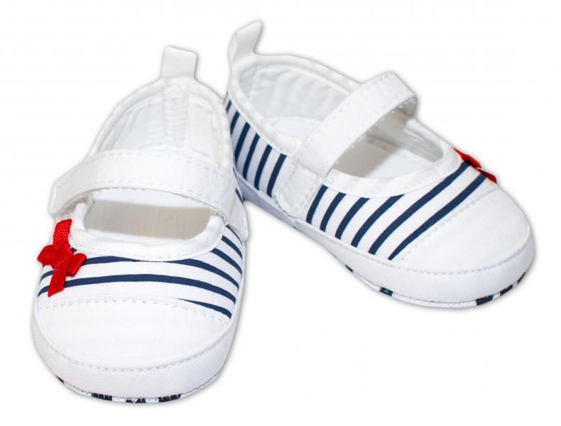 YO ! Kojenecké boty/capáčky granátový proužek - bílé - 0/6 měsíců