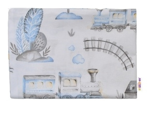Baby Nellys Povlak na polštářek Vláček, 40x60 cm - bílá/modrá