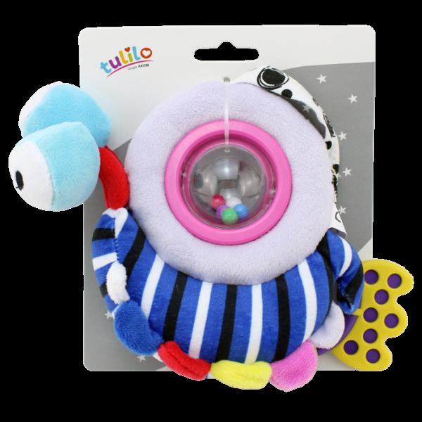 Plyšová hračka Tulilo s chrastítkem a kousátkem Šneček, 18 cm