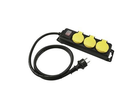 Distributor 3, 3x el. zásuvka, vypínač, IP44, černý, 3m