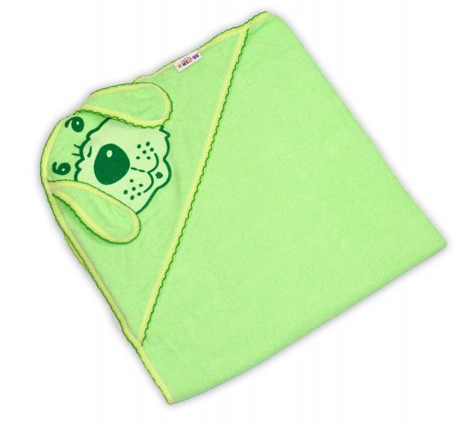 Baby Nellys Dětská osuška 80 x 80cm Pejsek s kapucí - zelená