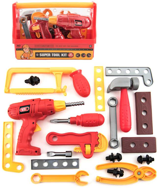 Nářadí pracovní dětské set v přenosném boxu 26x19x13cm plast