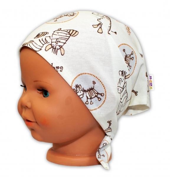 Baby Nellys Dětský šátek na zavazování Zebra - smetanová - uni