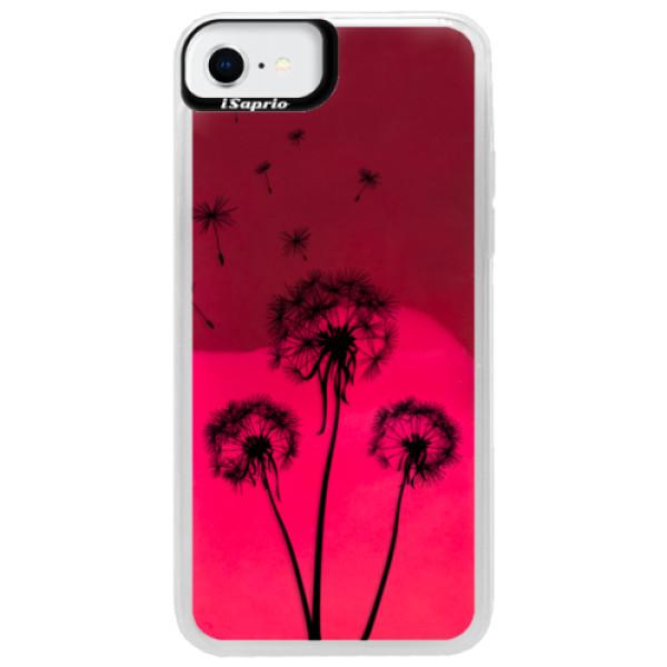 Neonové pouzdro Pink iSaprio - Three Dandelions - black - iPhone SE 2020