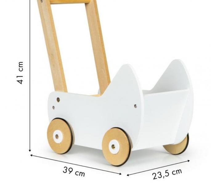 ECO TOYS Dřevěný kočárek pro panenky - bílý
