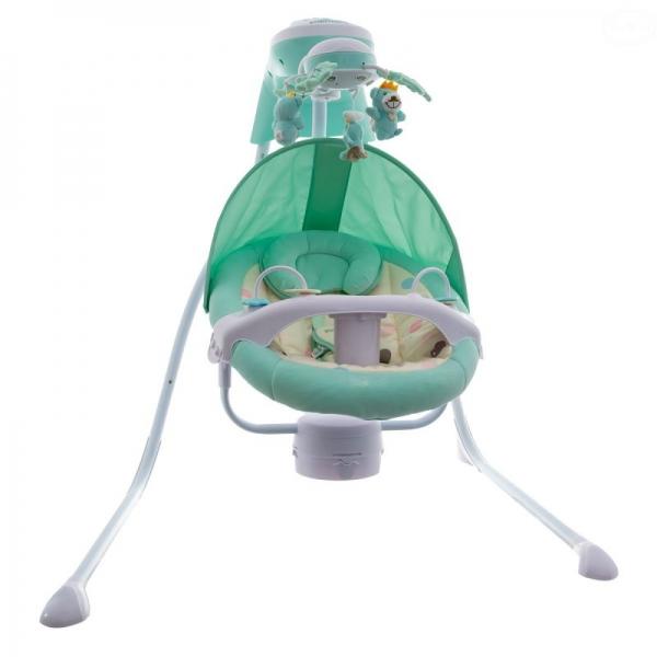 Dětská elektrická houpačka a lehátko - zelené, D19