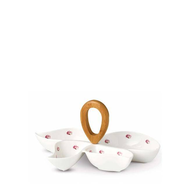 Keramický set na chuťovky – růžový dekor
