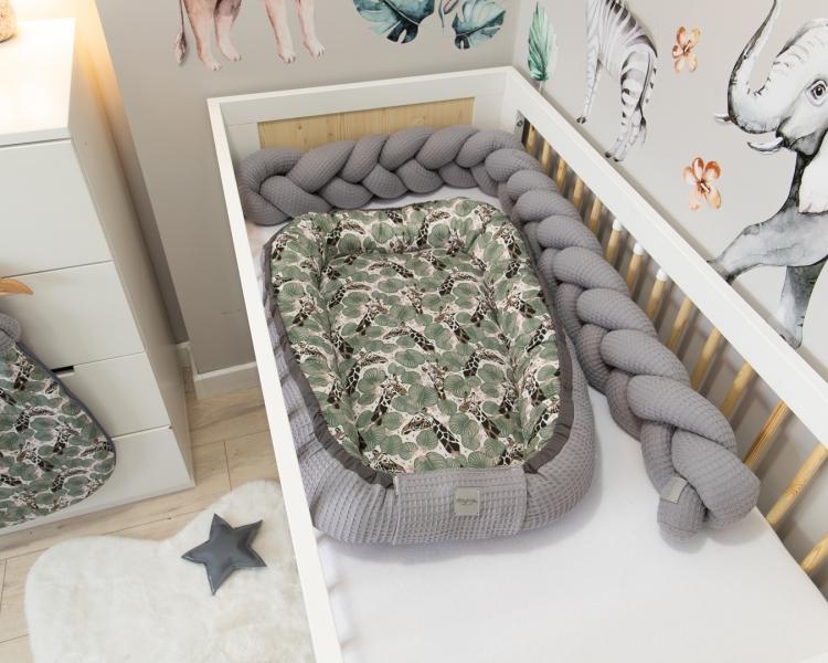Baby Nellys Oboustranné hnízdečko, kokon Vafel,bavlna, 60 x 90 cm - Žirafa - 60x90