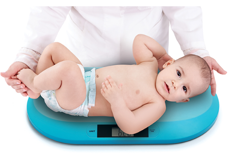 BabyOno Novorozenecká elektronická váha s LCD- tyrkysová