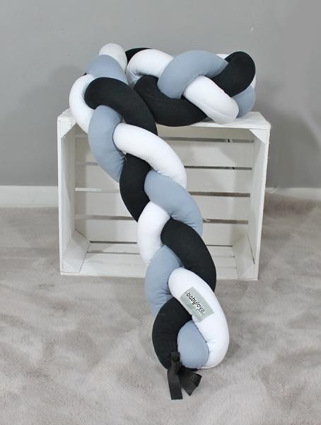 Mantinel Babylove pletený cop - černá,šedá,bílá - 200x16