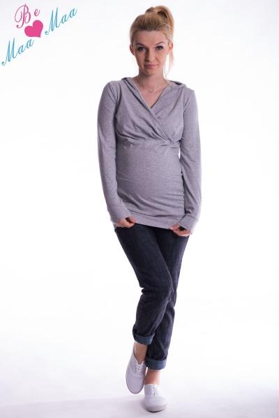 Těhotenská mikina s kapucí OLINA - šedý melír