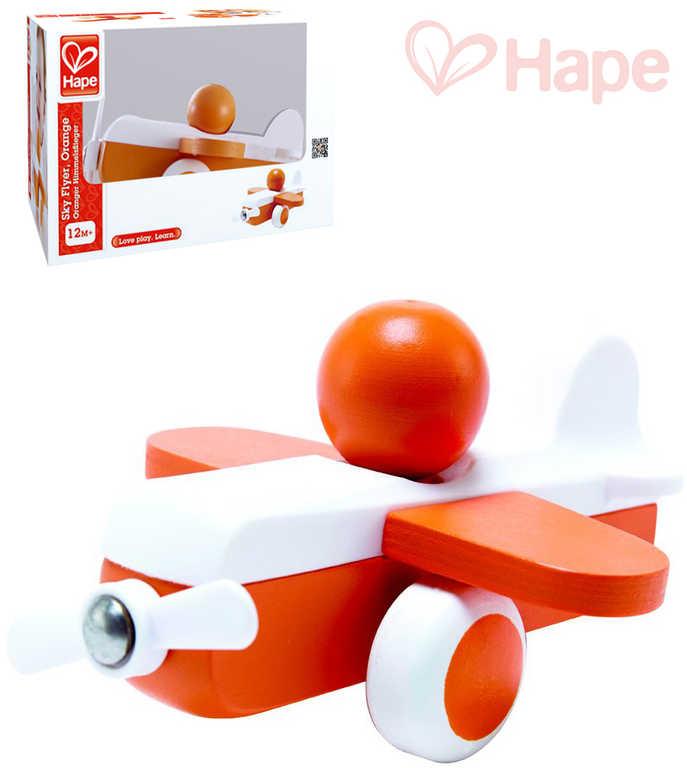 HAPE DŘEVO Baby letadélko mini oranžové s pilotem pro miminko