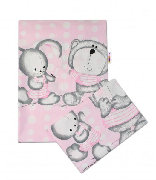 Baby Nellys 2-dílné bavlněné povlečení Medvídek s králíčkem Bubble - růžové