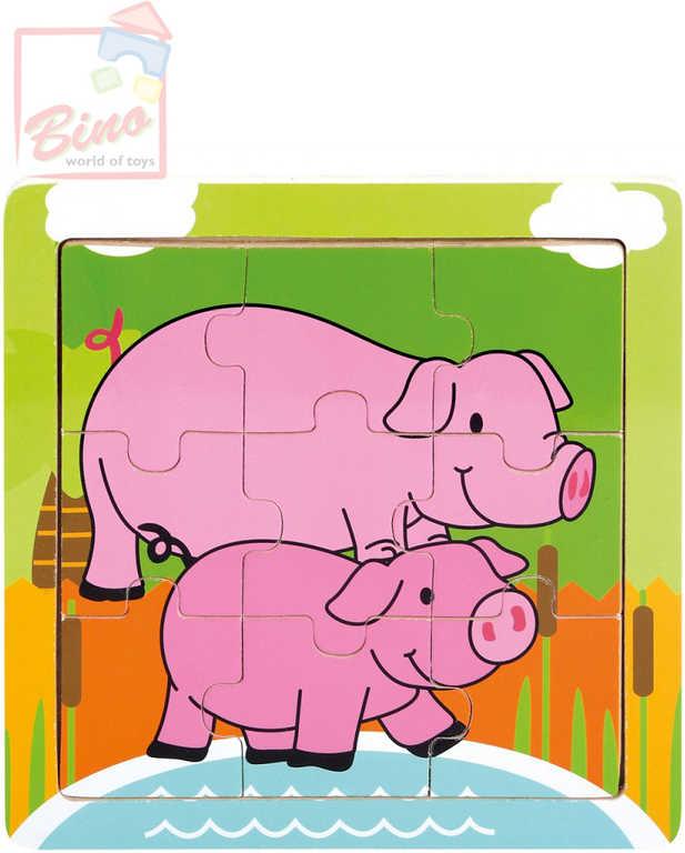 BINO DŘEVO Puzzle prasátka 9 dílků baby skládačka 12x12cm v rámečku