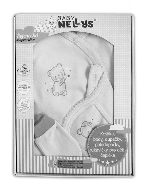 Baby Nellys Velká sada do porodnice TEDDY, 6-ti dílná v krabičce