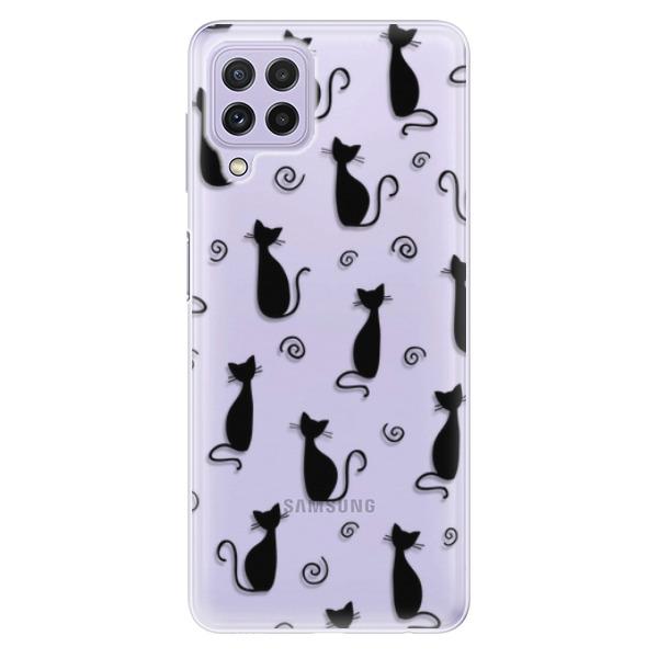 Odolné silikonové pouzdro iSaprio - Cat pattern 05 - black - Samsung Galaxy A22