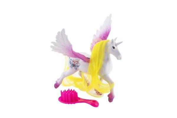 Jednorožec/kůň s křídly hřebenem plast 12 cm 3 barvy