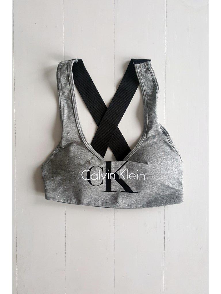 Podprsenka sportovní Bralette Lightly Lined QF1643E-IL7 šedá - Calvin Klein