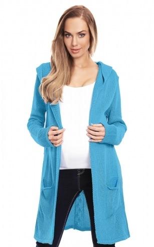 Be MaaMaa Těhotenský kardigan s kapucí, modrý - UNI