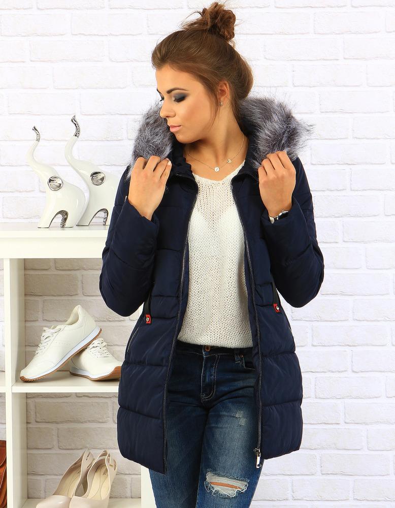 Dámská zimní bunda s kapucí 1709 (ty0098) - XIZIQI - Tmavě modrá/XL