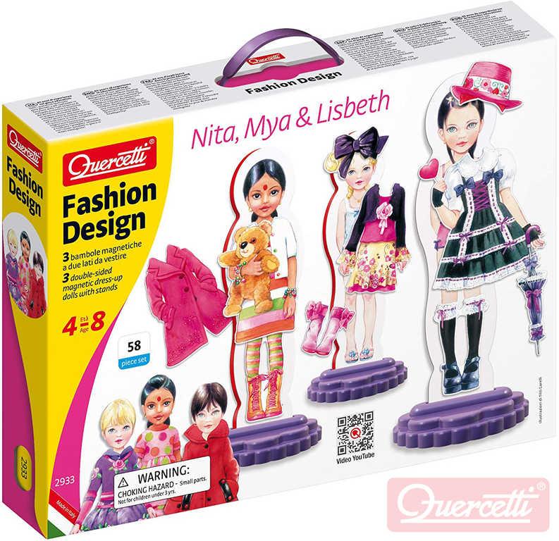 QUERCETTI Fashion Design Nita, Mya & Lisbeth magnetické šablony obleč panenku