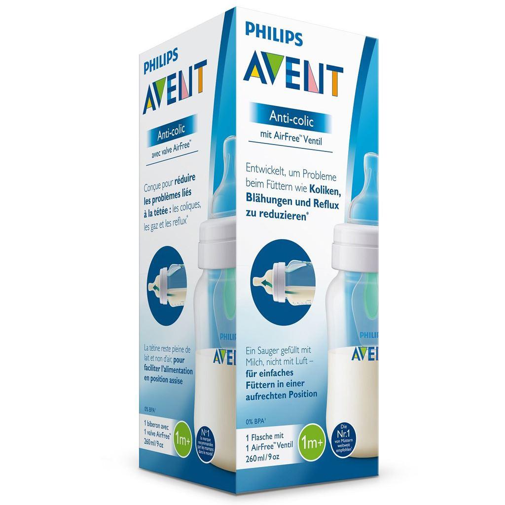 Kojenecká láhev Avent Anti-colic s ventilem AirFree 260 ml - transparentní