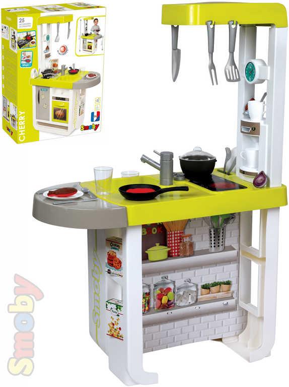 SMOBY Kuchyňka Bon Appetit Cherry set s nádobím a kávovarem na baterie Zvuk