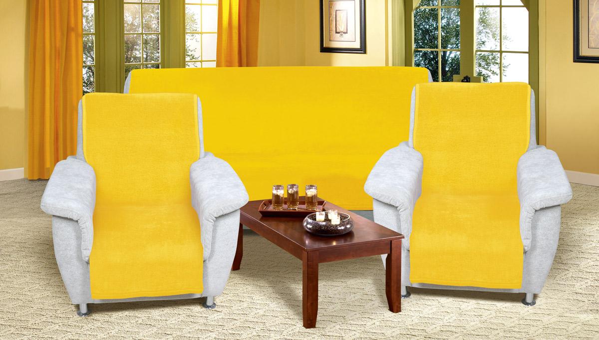 Přehoz na sedací soupravu Micro 3+1+1 žlutá