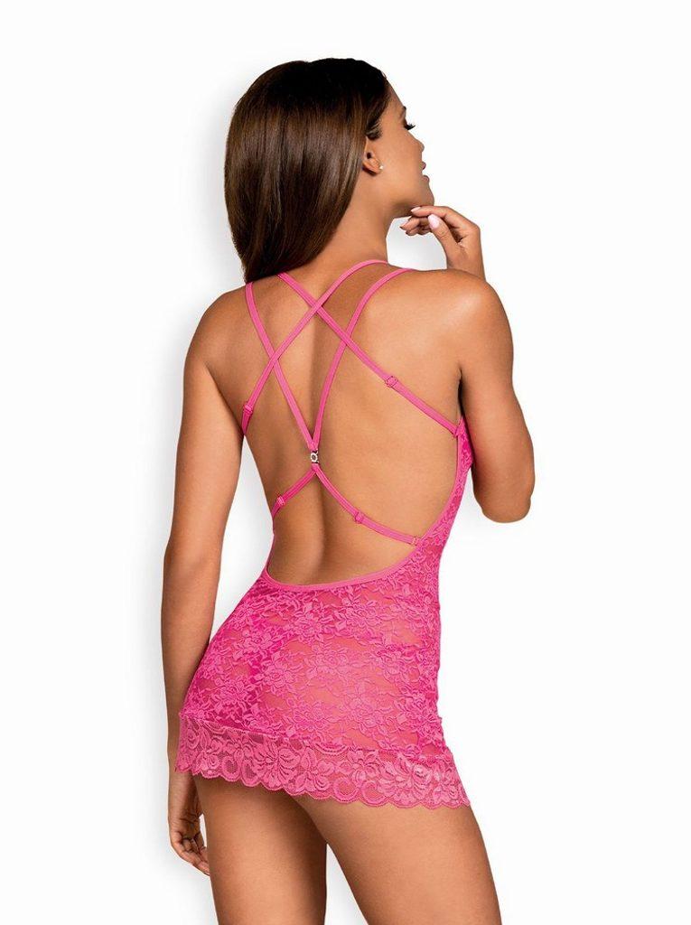 Sladká košilka Obsessive 860-CHE pink - Růžová