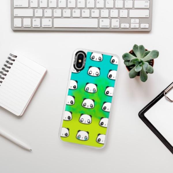 Neonové pouzdro Blue iSaprio - Panda pattern 01 - iPhone X