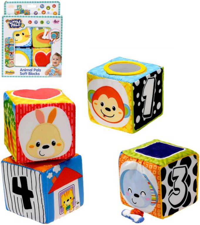 Baby soft kostky měkké textilní 9cm set 4ks na natažení edukační pro miminko