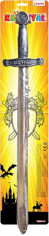 Meč dětský rytířský stříbrný 63cm zdobený plast na kartě