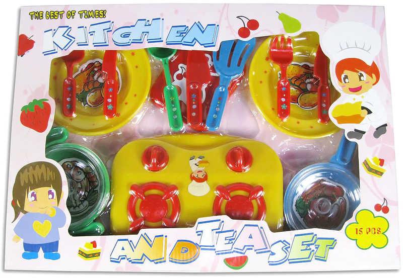 Set kuchyňský plastový s vařičem a doplňky v boxu 15 ks
