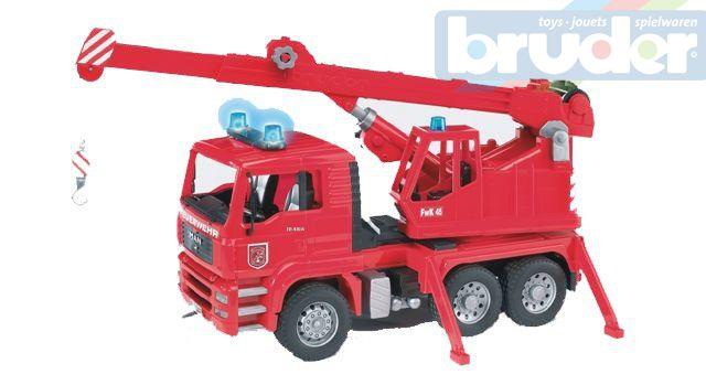 BRUDER 02770 (2770) Nákladní auto MAN - jeřáb požární + maják + zvuk