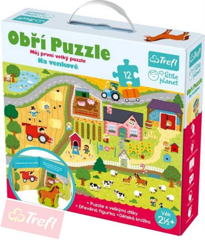 TREFL Puzzle obří Na venkově 12 dílků set hrací podložka 60x40cm s doplňky