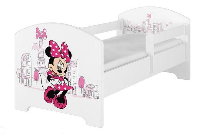 BabyBoo Dětská postel Disney - Minnie Paris - bílá, s matrací, 160 x 80 cm + šuplík - 160x80