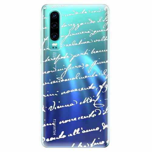 Silikonové pouzdro iSaprio - Handwriting 01 - white - Huawei P30