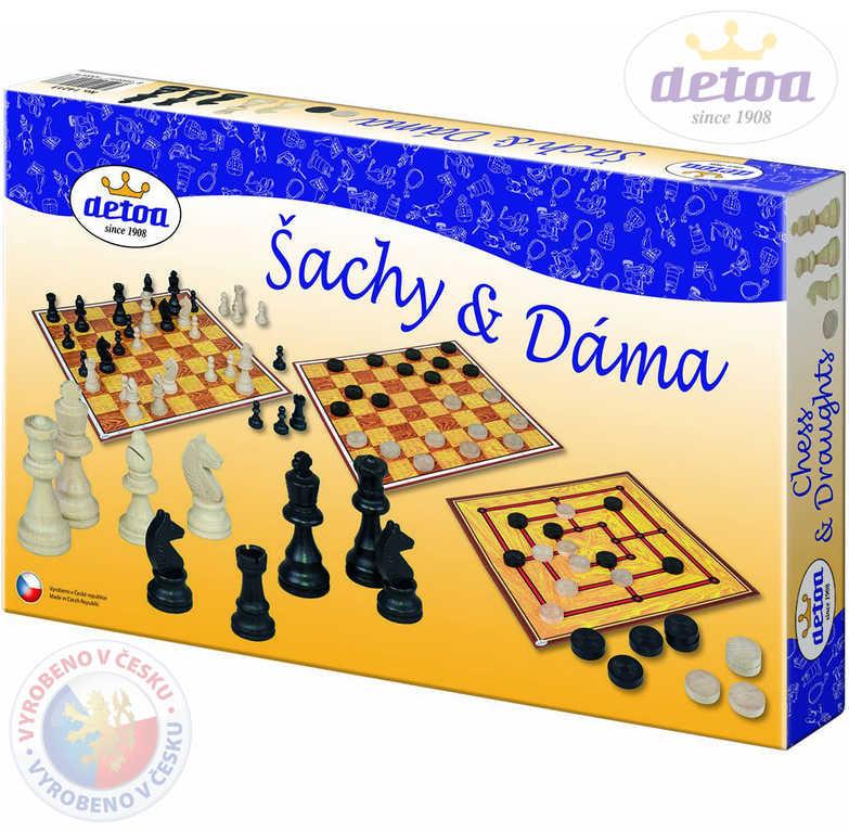 DETOA DŘEVO Hra Šachy a dáma 2v1 *SPOLEČENSKÉ HRY*