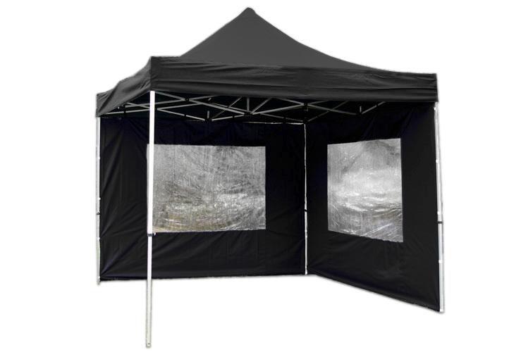 Zahradní párty přístřešek nůžkový PROFI 3x3 m černý + 2 boční stěny