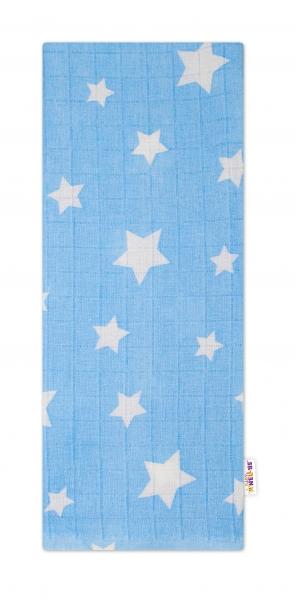 Baby Nellys Kvalitní bavlněná plenka - Tetra Premium, 70x80cm - Hvězdičky bílé na modré