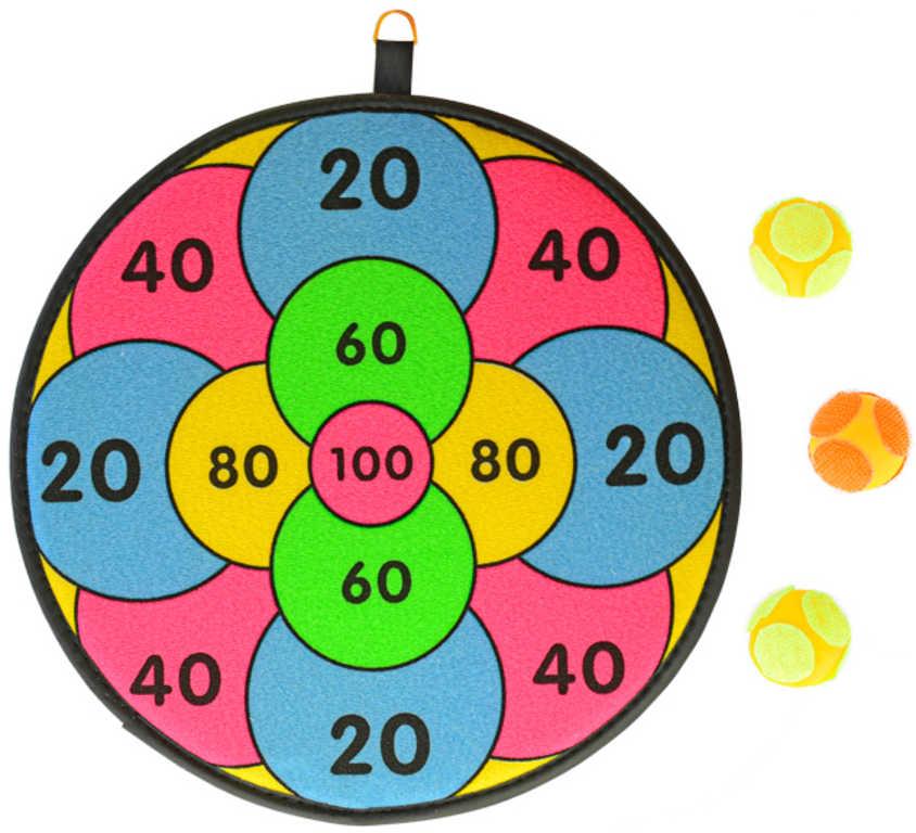 Terč závěsný na suchý zip set se 3 soft míčky 3 druhy plast
