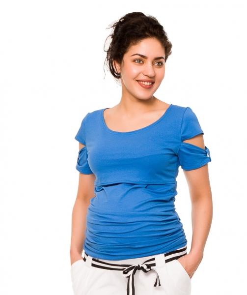 Be MaaMaa Těhotenské a kojící triko Lena - modré - XS (32-34)