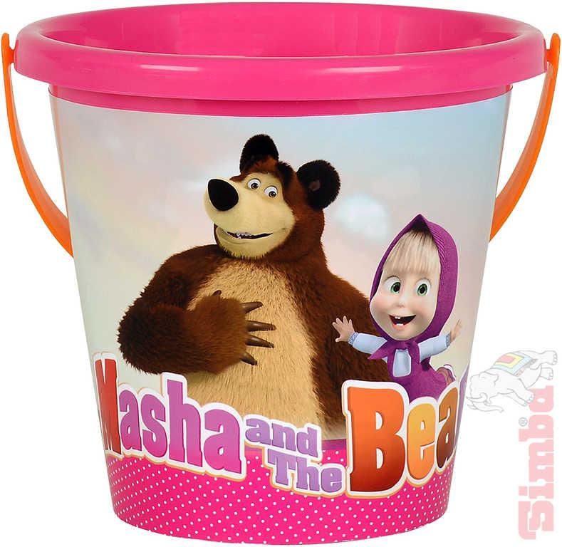 SIMBA Kyblíček na písek 16cm s obrázkem Máša a medvěd růžový plast