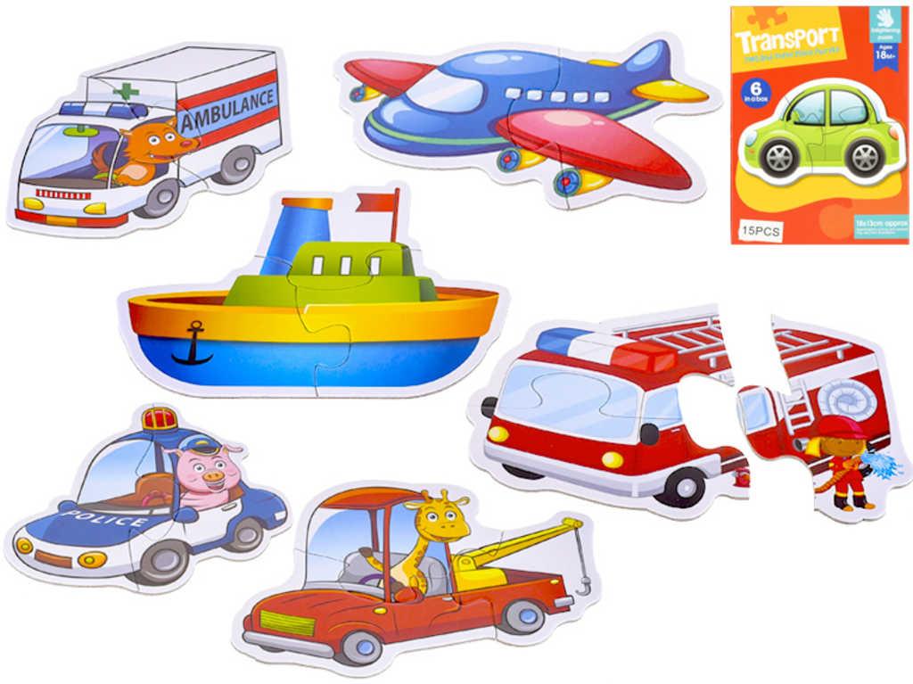 Baby puzzle menší 18x13cm dopravní prostředky set 15 dílků skládačka pro miminko