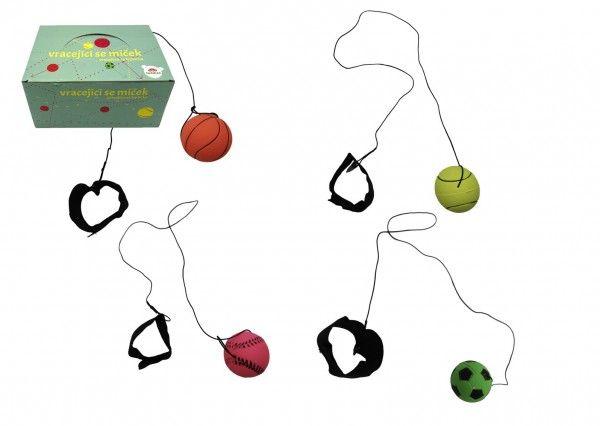 Míček vracející se gumový 6cm 4 barvy v síťce 24ks v boxu