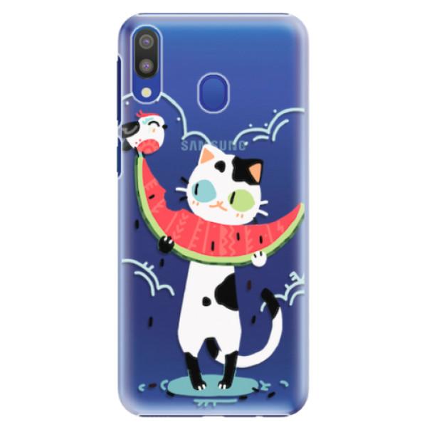 Plastové pouzdro iSaprio - Cat with melon - Samsung Galaxy M20