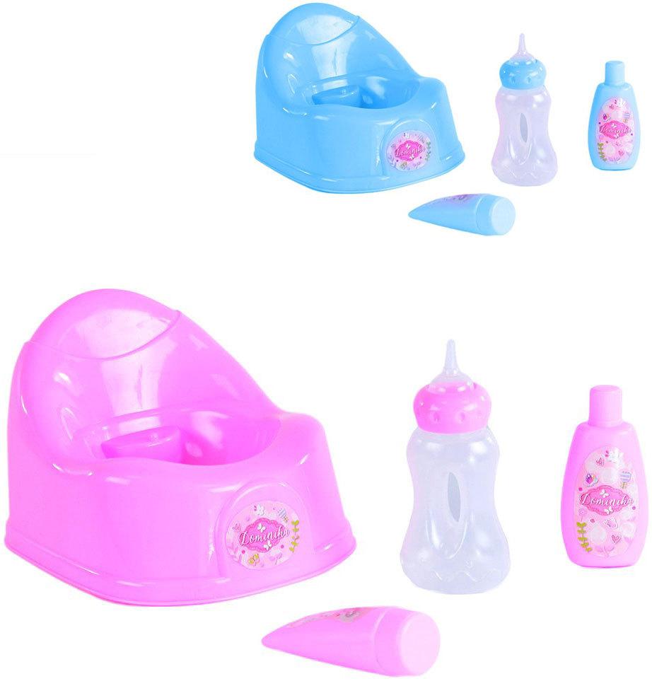 Kojenecký set nočník s příslušenstvím pro panenku miminko 4 ks - 2 barvy